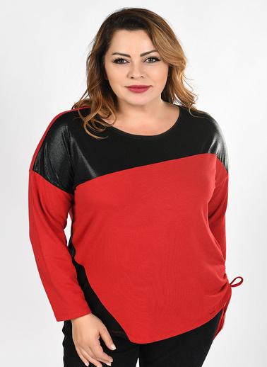 WHIP Design Düz Bisiklet Yaka Yarasa Uzun Kol Viskon Bluz Kırmızı